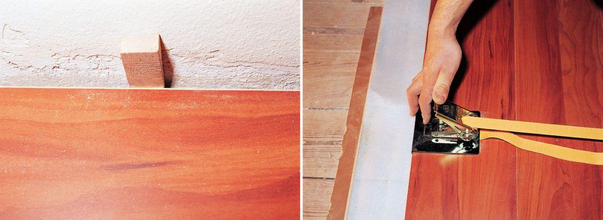 KROK V - Wkładanie klinów dystansowych i dociąganie paneli podłogowych